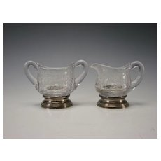 Antique Cambridge Chantilly Creamer Sugar Sterling Silver Base Etched Glass