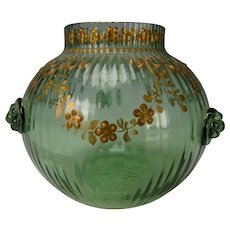 Antique Bohemian Moser Raised Gilt Enamel Decorated Glass Vase