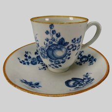 Antique Caughley or Worcester China Porcelain Handled Cup and Saucer c1780