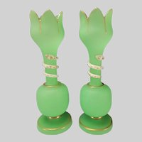 Antique Bohemian Green Opaline and White Snake Glass Vases