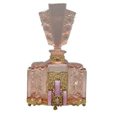 Pink Peach Czech Jeweled Large Perfume by J. Schmidt