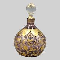 Moser or Harrach Round Amethyst Perfume Bottle Bohemian