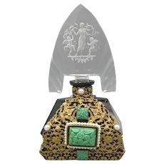 Black Glass Ornately Jeweled Czech Perfume Bottle with Tiara Stopper