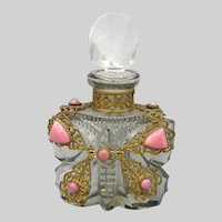 1930s Czech Small Jeweled Butterfly Perfume Bottle