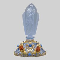 1930s Blue Jeweled Czech Perfume Bottle with Figural Stopper