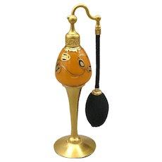 1926 DeVilbiss Gold & Orange with Black Art Deco Perfume Atomizer Bottle