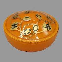 1926 DeVilbiss Orange Art Deco Powder Jar Companion to Perfume Atomizer