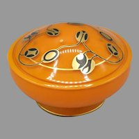 1926 DeVilbiss Deluxe Orange Art Deco Powder Jar Companion to Perfume Atomizer