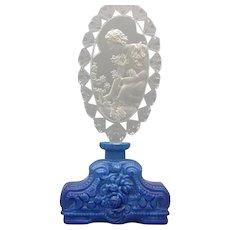 Tall 1930s Czech Vogel & Zappe Perfume Lapis Base Figural Stopper