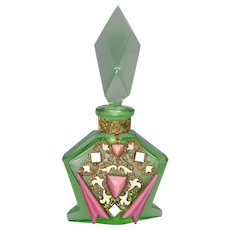 1930s Green Czech Perfume with Pink & White Jeweling