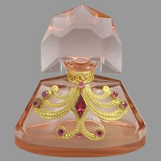 1930s Czech Pink Schmidt Perfume with Austrian Jeweling