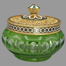 1930s Czech Glass Vanity Jar with Ornate Austrian Lid