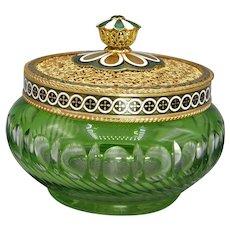 1930s Czech Glass Vanity Jar with Ornate Austrian Lid