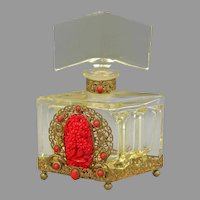 1930s Czech Schmidt Yellow Perfume Bottle with Red Neiger Jeweling