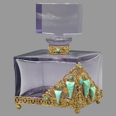 1930s Czech Amethyst Schmidt Neiger Jeweled Perfume Bottle
