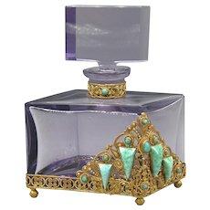 1930s Czech Amethyst Schmidt Neiger Jeweled Perfume Bottle