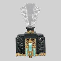 1930s Czech Black & Crystal Schmidt Neiger Jeweled Perfume Bottle