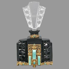 1930s Czech Black & Crystal Schmidt Neiger Jeweled Perfume Bottle