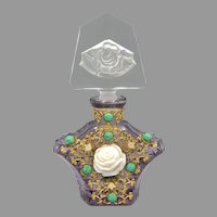 1930s Czech Amethyst Rose Jeweled Perfume Bottle