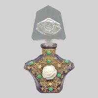 1930s Czech Amethyst Rose Jeweled Perfume Bottle