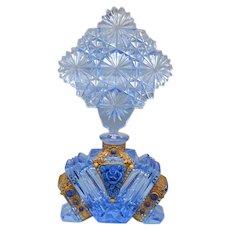 All Blue Jeweled Schmidt Czech Perfume Bottle 1930s