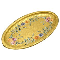 1925 DeVilbiss Gold Encrusted Enameled Roses Perfume Pin Dish