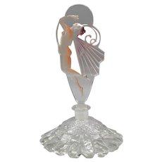 1930s Czech Vogel & Zappe Perfume Bottle with Enameled Butterfly Nude