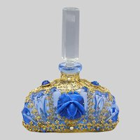 1930s Czech Jeweled Perfume Bottle with Blue Rose
