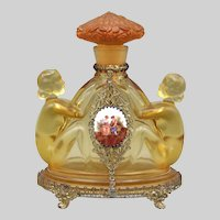 1930s Czech Amber Jeweled Inwald Perfume Bottle with Nudes