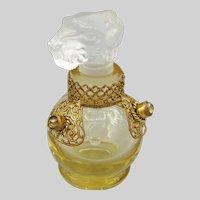 1930 's Czech Jeweled Mini Perfume with Dog Stopper
