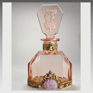 Pink Czech Jeweled Perfume Bottle Cupids on Rose Stopper
