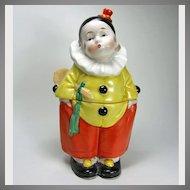 Art Deco German Porcelain Little Boy Clown Box 1920-30s