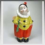 Art Deco German Porcelain Little Boy Clown Box 1920-30s