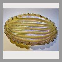 Large Kralik Melon Ribbed Centerpiece Art Glass Bowl