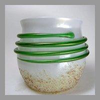 Bohemian Art Glass Iridescent Vase with Snake Wrap