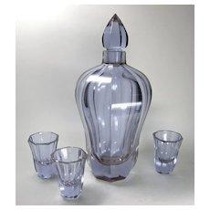 Moser Alexandrit Glass Decanter Set