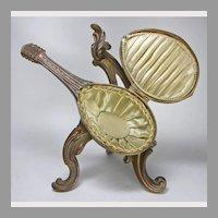 Unusual French Figural Mandolin Bronze Box