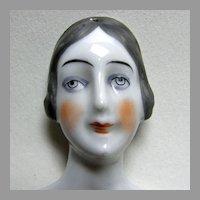 German Porcelain Flat Back Ladies Head