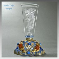 Blue Jeweled Czech Perfume Bottle with Figural Stopper