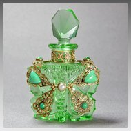 Green Czech Jeweled Butterfly Perfume Bottle