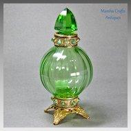 Green Czech Jeweled Perfume Bottle