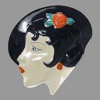 Czech Lady with Hat Dresser Dish 1930s