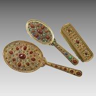3pc Jeweled Austrian Dresser Set