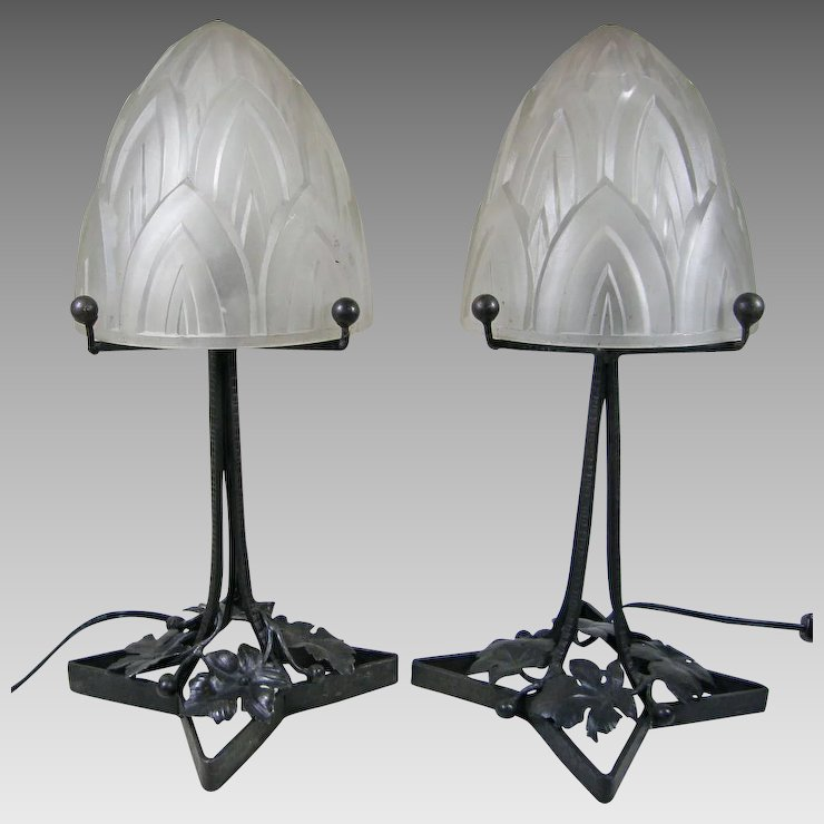 pair of french art deco table lamps marsha crafts antiques ruby lane