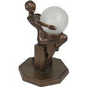 Frankart Art Deco Sitting Nude Table Lamp 1930s