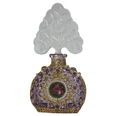 Jeweled Czech Amethyst Perfume Bottle with Rose Stopper