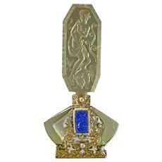 Ingrid Schlevogt Czech Jeweled Leda & Swan Glass Perfume Bottle