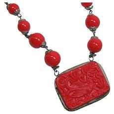Red Czech Glass Choker Style Necklace