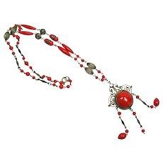 Red Glass Czechoslovakian Necklace