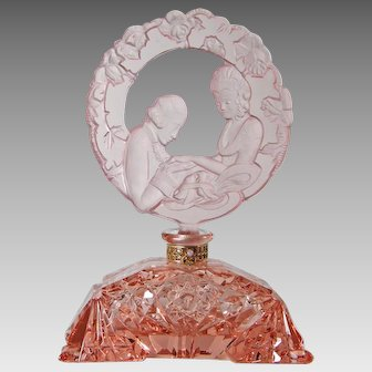 Large Size Pink Czech Perfume Figural Stopper 1930s